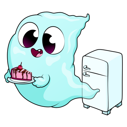 Cute Ghost with Cake Sticker