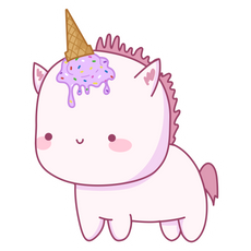 Cute Unicorn with Ice Cream Horn Sticker
