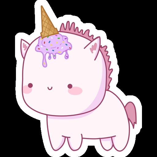 Cute Unicorn with Ice Cream Horn Sticker