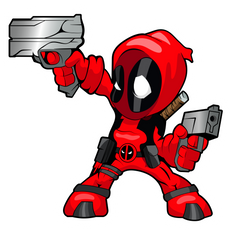 Chibi Deadpool with Weapons Sticker