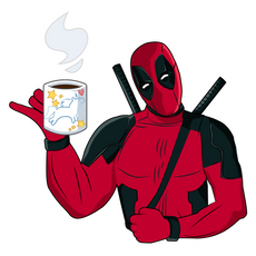 Deadpool with Tea Cup Sticker