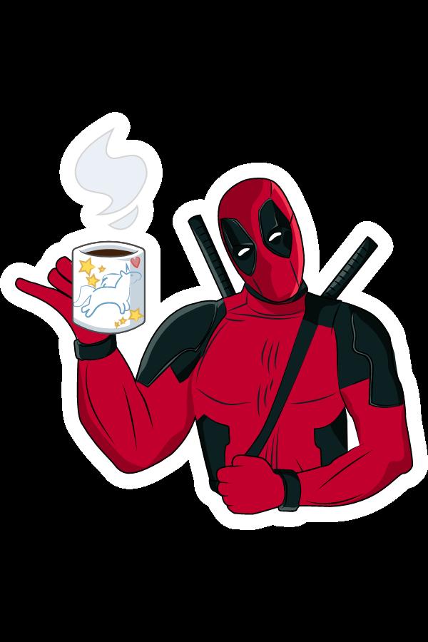 Deadpool with Tea Cup Sticker