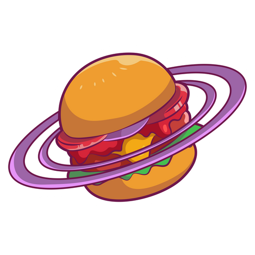 Burger Saturn Sticker