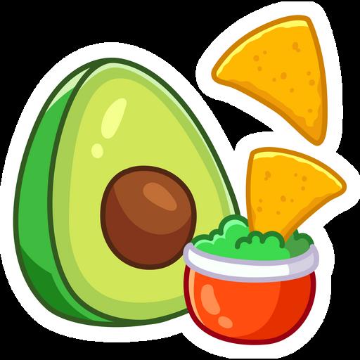 Nachos Chips and Avocado Sticker