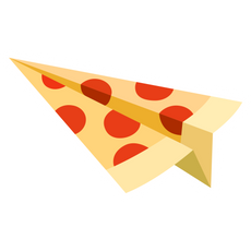 Pizza Paper Airplane Sticker