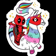Fortnite Deadpool Riding Dragacorn Sticker
