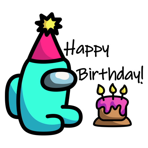 Among Us Happy Birthday Sticker