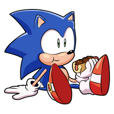 Sonic the Hedgehog Eating Hot Dog Sticker