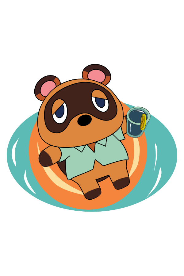 Animal Crossing Tom Nook in the Pool Sticker