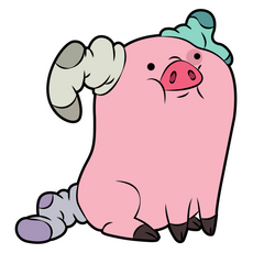 Gravity Falls Waddles in Socks Sticker