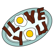 The Simpsons I Love You Eggs and Bacon Sticker
