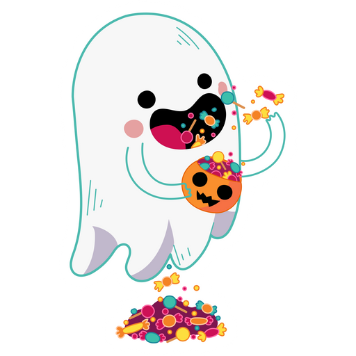 Cute Ghost With Candy Sticker Mania In this video, you will learn how to draw and color a cute ghost step by step :) if you want to see more of my videos , click here : cute ghost with candy sticker mania