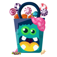 Funny Halloween Bag of Sweets Sticker