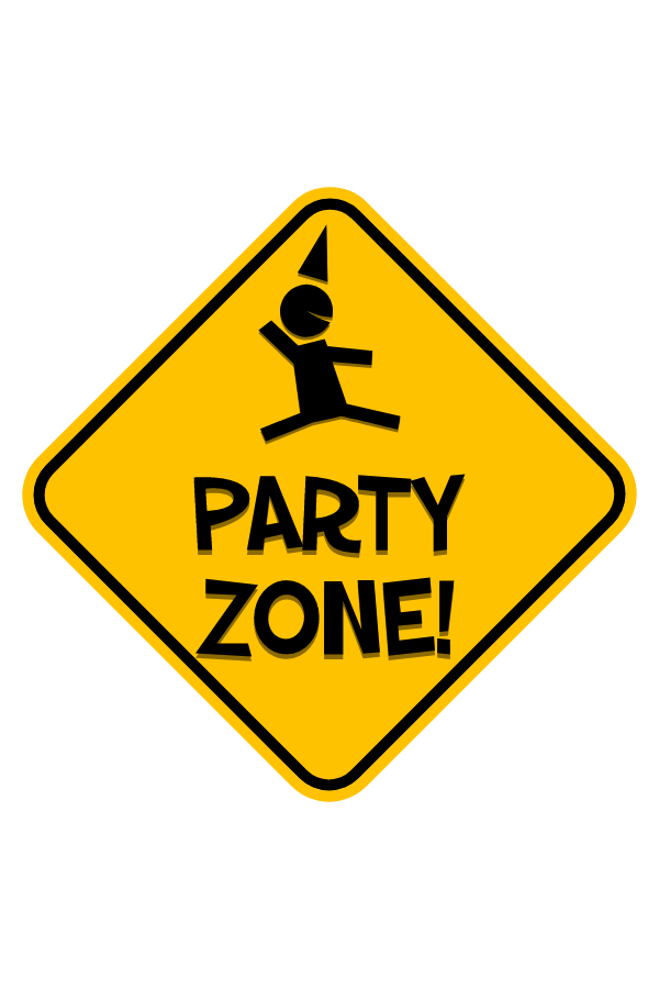 Party Zone Road Sign Sticker