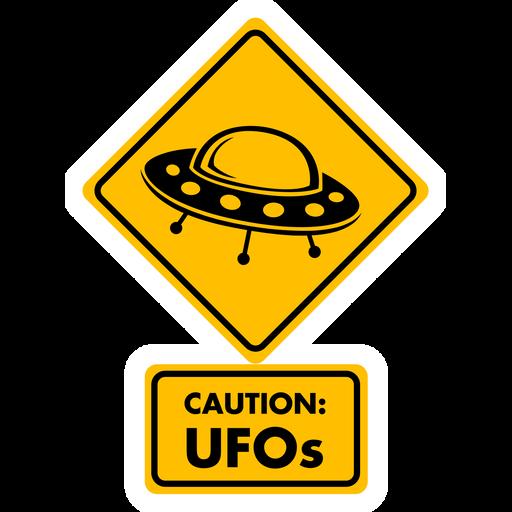 Caution UFOs Sticker