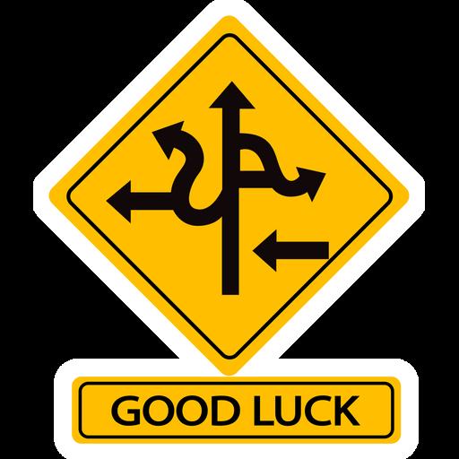 Good Luck Road Sign Sticker