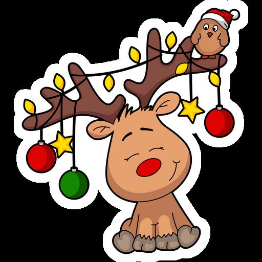 Cute Christmas Deer Sticker