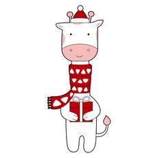 Christmas Giraffe Sticker