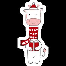 Christmas Giraffe Sticker