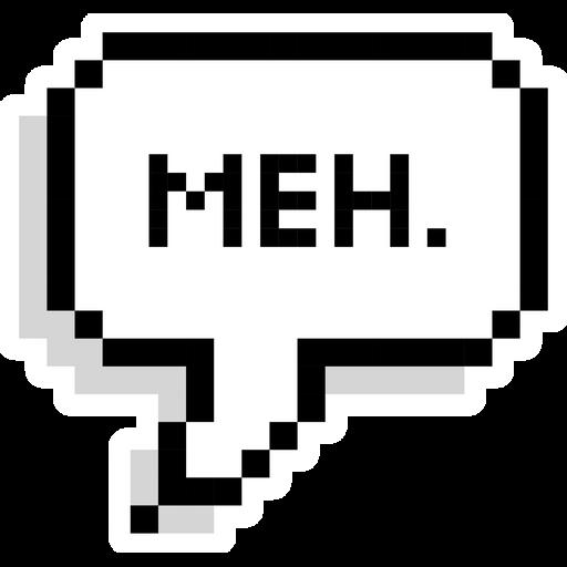Meh Pixel Speech Balloon Sticker