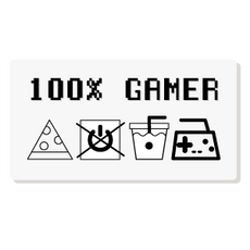 100% Gamer Care Tag Label Sticker