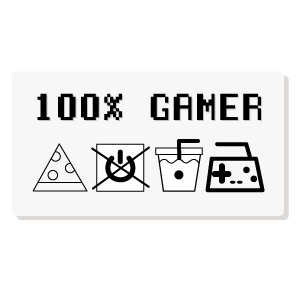 100% Gamer Care Tag Label