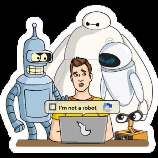 Click I am Not a Robot Captcha Please Sticker
