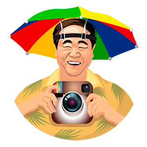 Tourist Holding Instagram Camera Sticker