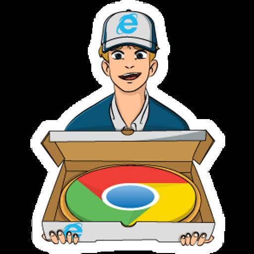 Internet Explorer Delivered Chrome Browser Pizza