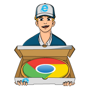 Internet Explorer Delivered Chrome Browser Pizza