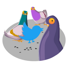 Twitter Bird with Pigeons