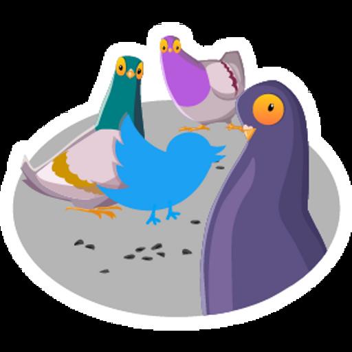 Twitter Bird with Pigeons