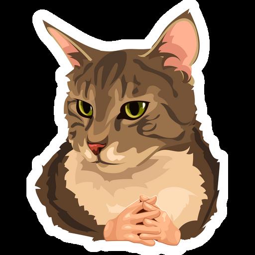 Cat with Hands Meme Sticker