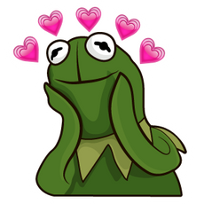 Kermit the Frog in Love Meme Sticker