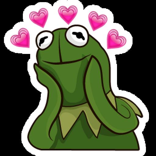 Kermit the Frog in Love Meme Sticker