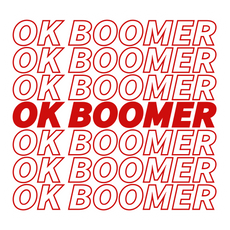 OK Boomer Red Lettering Sticker