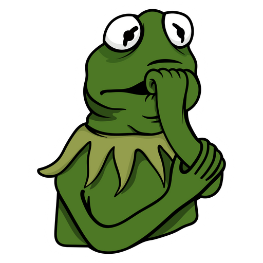 Thoughtful Kermit the Frog Sticker