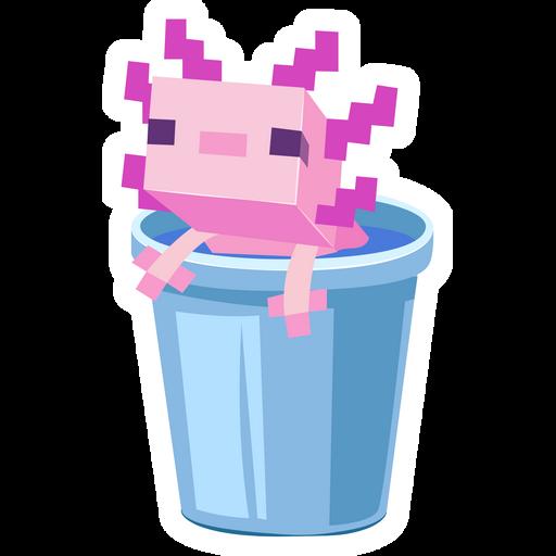 Minecraft Axolotl in Bucket Sticker