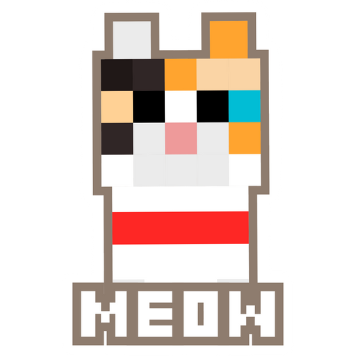 Minecraft Calico Cat Meow Sticker