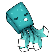 Minecraft Cute Squid Sticker