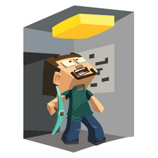 Minecraft Digger Steve and Gold Ore Sticker