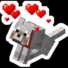 Minecraft Dog with Hearts Sticker