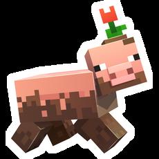 Minecraft Pig in Mud Sticker