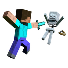 Minecraft Steve Attacks Skeleton Sticker