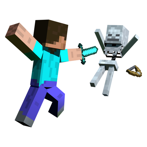 Minecraft Steve Attacks Skeleton Sticker