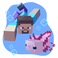 Minecraft Steve and Axolotl Sticker