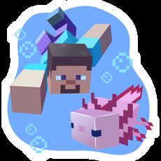 Minecraft Steve and Axolotl Sticker