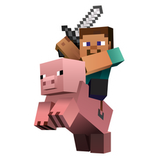 Minecraft Steve on Pig Sticker