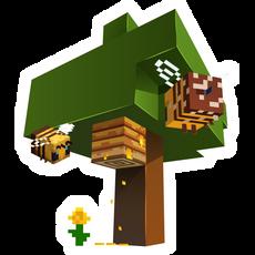 Minecraft Tree and Bees Sticker