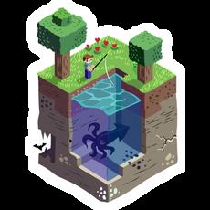 Minecraft World Cube Sticker